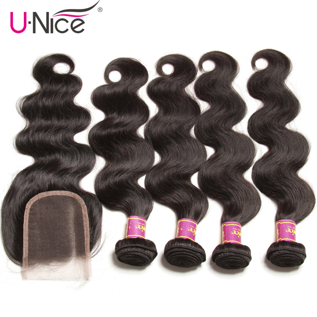$ US $116.64 Unice Hair Indian Body Wave 4 Bundles With Closure Natural Color 100% Human Hair With Lace Closure Bundle Deals Remy Hair Weave