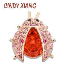 Cindy xiang 2 cores escolher luxo brilhando sw cristal joaninha broches para as mulheres bonito elegante muito alta qualidade inseto pinos presente