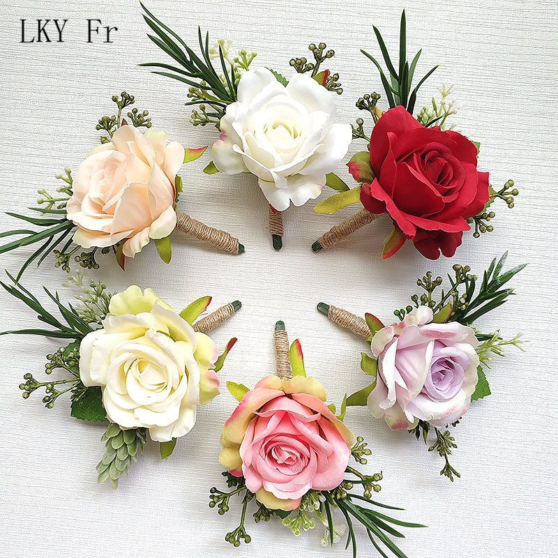 LKY Fr Boutonniere Flowers Wedding Corsage Pin Groom Boutonniere Buttonhole Silk Rose Wedding Wrist Corsage Bracelet Bridesmaid