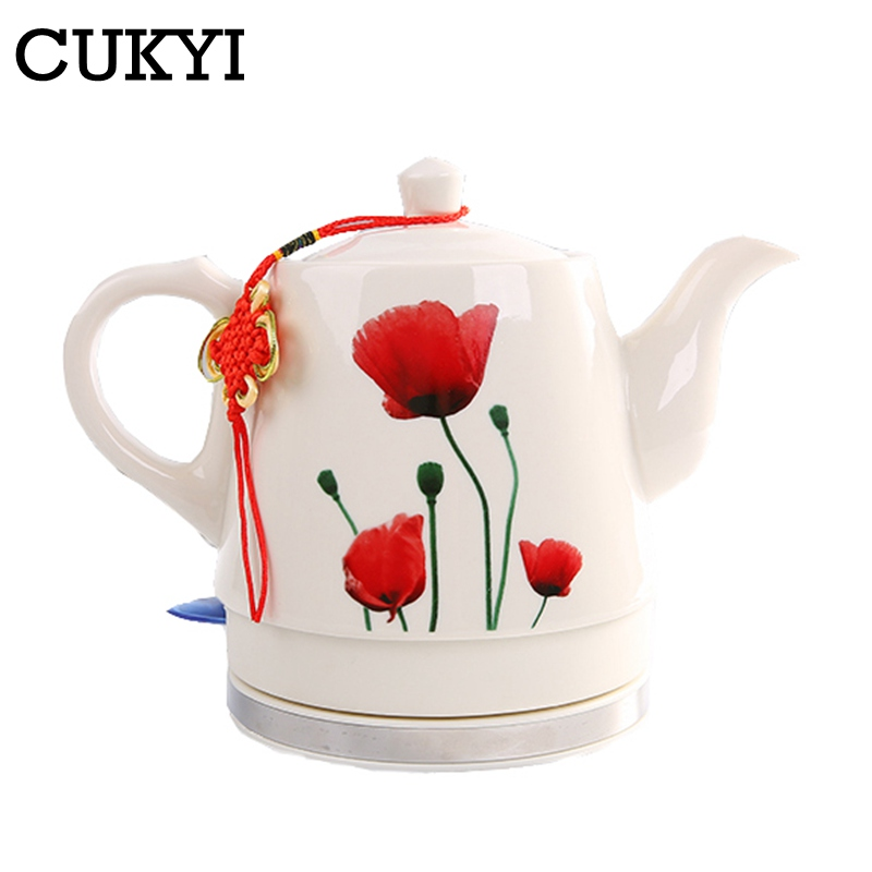 CUKYI 1.0L Electric Ceramic Tea Kettle With Detachable Base And Boil Dry Protection Kicthen Tools Household Health