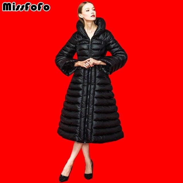 Miss FoFo женские пуховые пальто куртка Royal Cat 2017 Зима модное женское платье-пуховик парка черный плюс теплое пальто для леди 2XL
