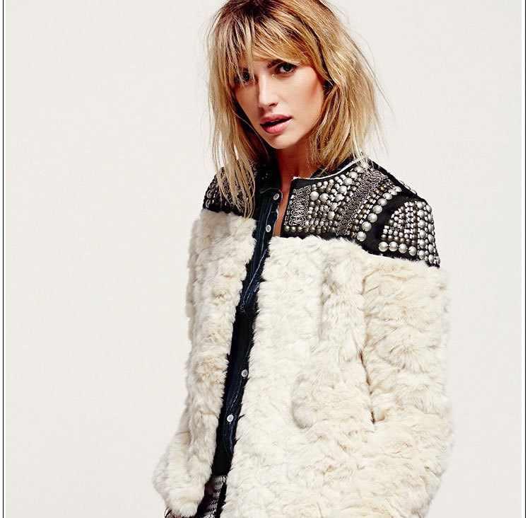 2019 yeni kadın kış yün kürk uzun kollu boncuk patchwork kalın sıcak ceketler ve taklit kürk