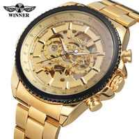 Top marka luksusowe złoty zwycięzca mężczyźni oglądać fajne mechaniczny zegarek automatyczny pasek ze stali nierdzewnej mężczyzna zegar szkielet Roman Dial