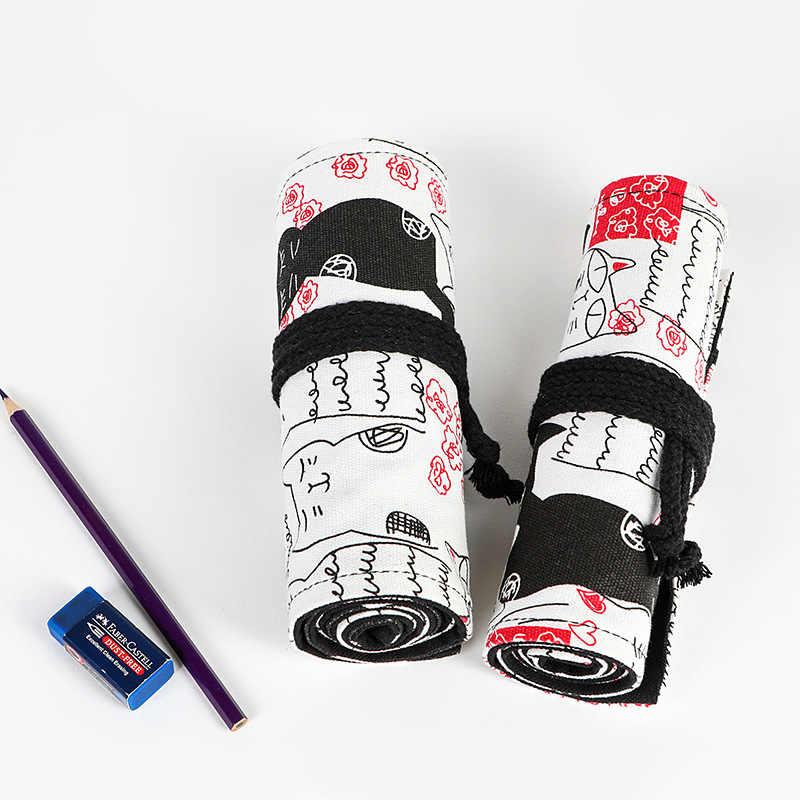 Kawaii คู่แมวม้วนโรงเรียนดินสอสำหรับหญิง Penal Pencilcase ผ้าใบขนาดใหญ่ 12/24/36/ 48/72 หลุมปากกากระเป๋ากล่องชุด