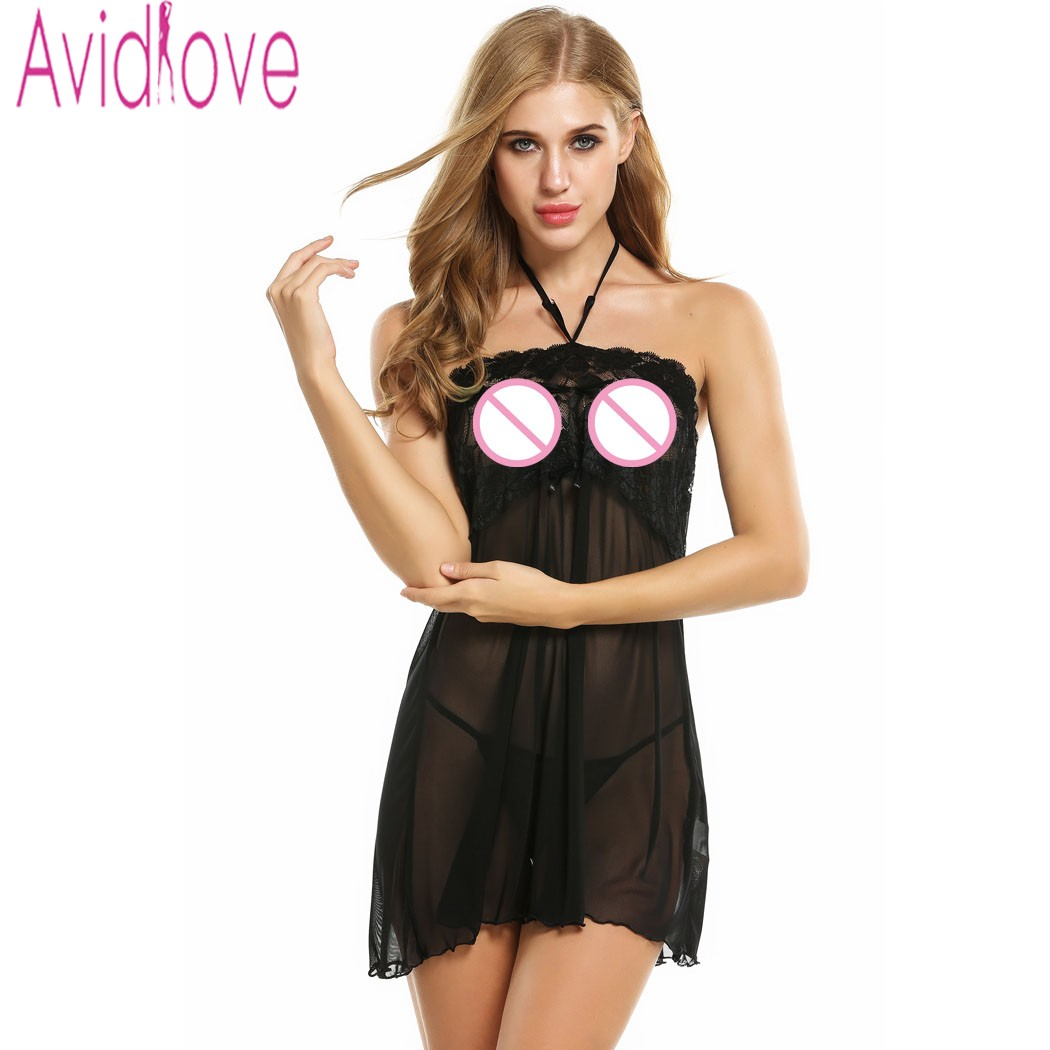 Avidlove Women Sexy Sleepwear Sheer Mesh Lace Babydoll Dress Sexy Lingerie Hot Nightgown With G-String Women Sexy Costumes