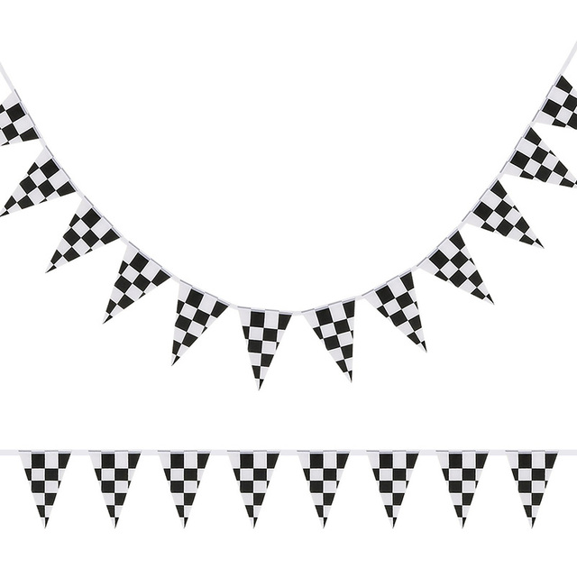 1pcs 10m 38pcs Flags Checkered Pennant Banner Black And White Flags