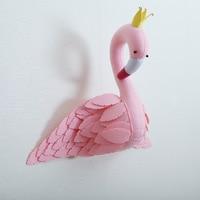 Cute Handmade Pink Crown Swan Wall Decor Stuffed Doll Toys 3D Animal Head Toy Wall Hanging Flamingo Decor Baby Room Wall Artwork