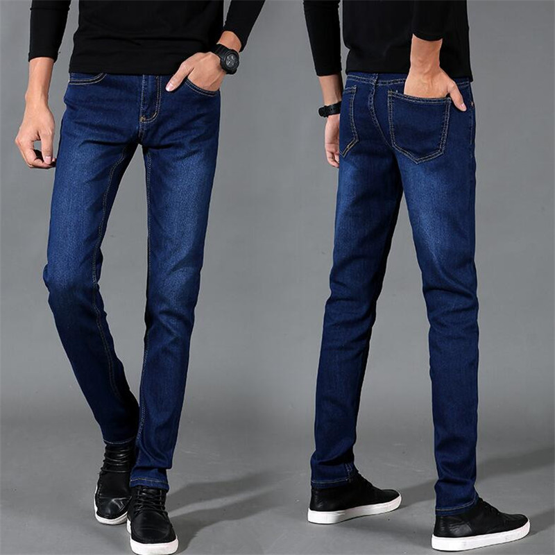 Autumn Classic Trousers 2018 New Men's Fashion Jeans Business Casual Stretch Slim Blue Jeans Denim Long Pants Male Homme