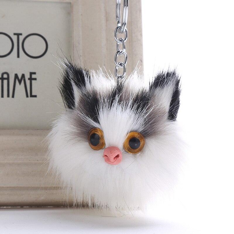 Wholesale Cute Owl Pompom Keychain Keyring Top Quality Charms Fur Ball Bag Pendants Car Key Chain Accessories Jewelry 6C1186