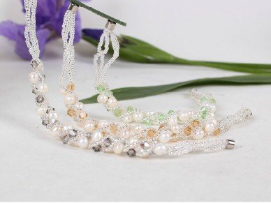 Fashion Nice Quality Freshwater Pearl Bracelet/Bangle with Crystal, Natural Pearl Jewellery Accessory, MIX COLOR