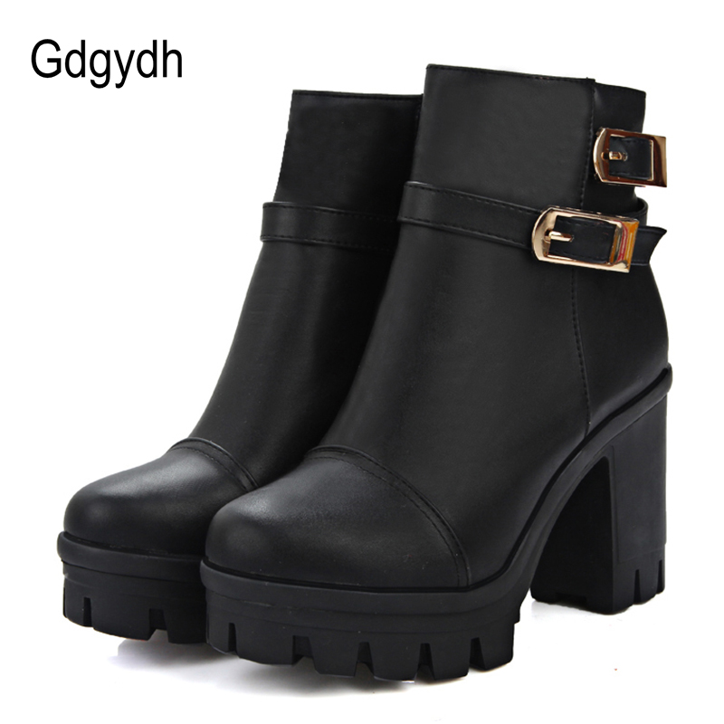 Gdgydh 2018 Woman Black Soft Leather Shoes Autumn Platform Ankle Boots Ladies Casual High Heels Shoes