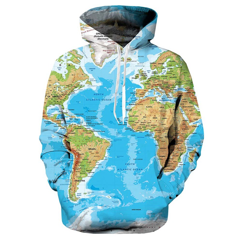 New Brand World Map Sweatshirts Earth Sweat shirt Funny 3d hoodies Mens Clothing Men Cool Anime Hoody Man