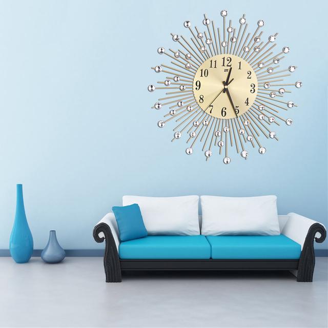 Iron Art Inlaid Diamond Flower Living Room Silence Bedroom Metal Wall Clock