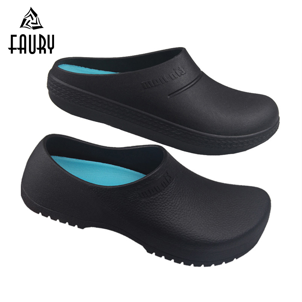 2019 Men Women Chef Kitchen Shoes Summer Breathable Garden Clogs Anti Slip Oil-proof Slippers Chef Master Cook Unisex Work Shoes