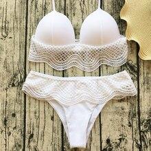 Halter Neck Spliced Lace Retro Design Bikini Set