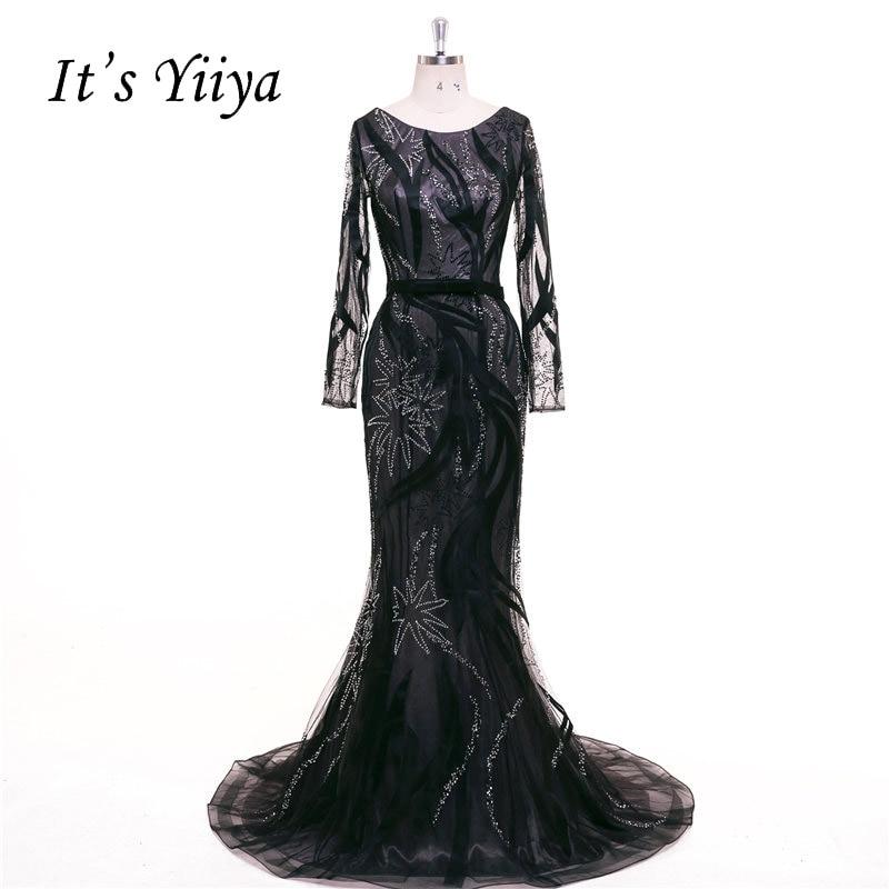 It\'s Yiiya Black Trumpet Long Sleeves Mermaid Zipper Lace Bling ...