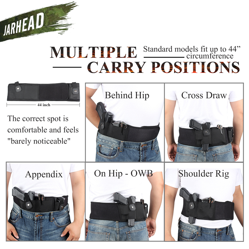 Image 3 - 44 inch Tactical Belly Band Holster Concealed Carry Pistol Gun Pouch Waist Bag Invisible Elastic Girdle Belt for Outdoor Hunting-in Holsters from Sports & Entertainment