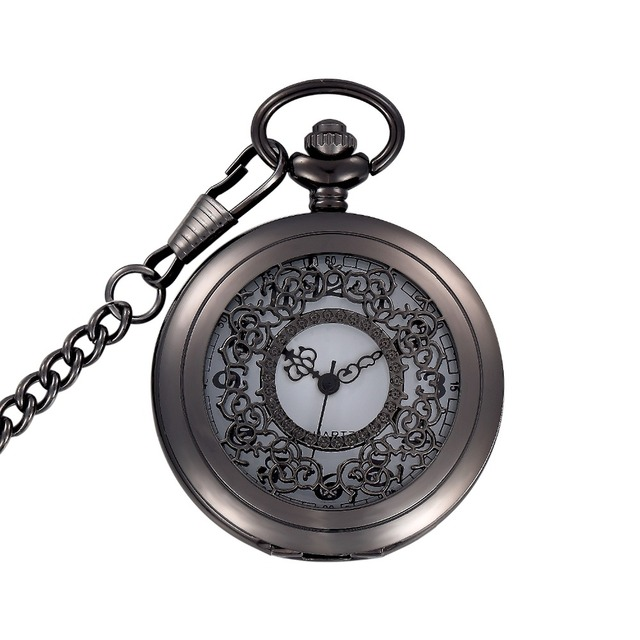 Antique Simple Hollow Quartz Pocket Watch Necklace Women Ladies Girl Best Xmas G