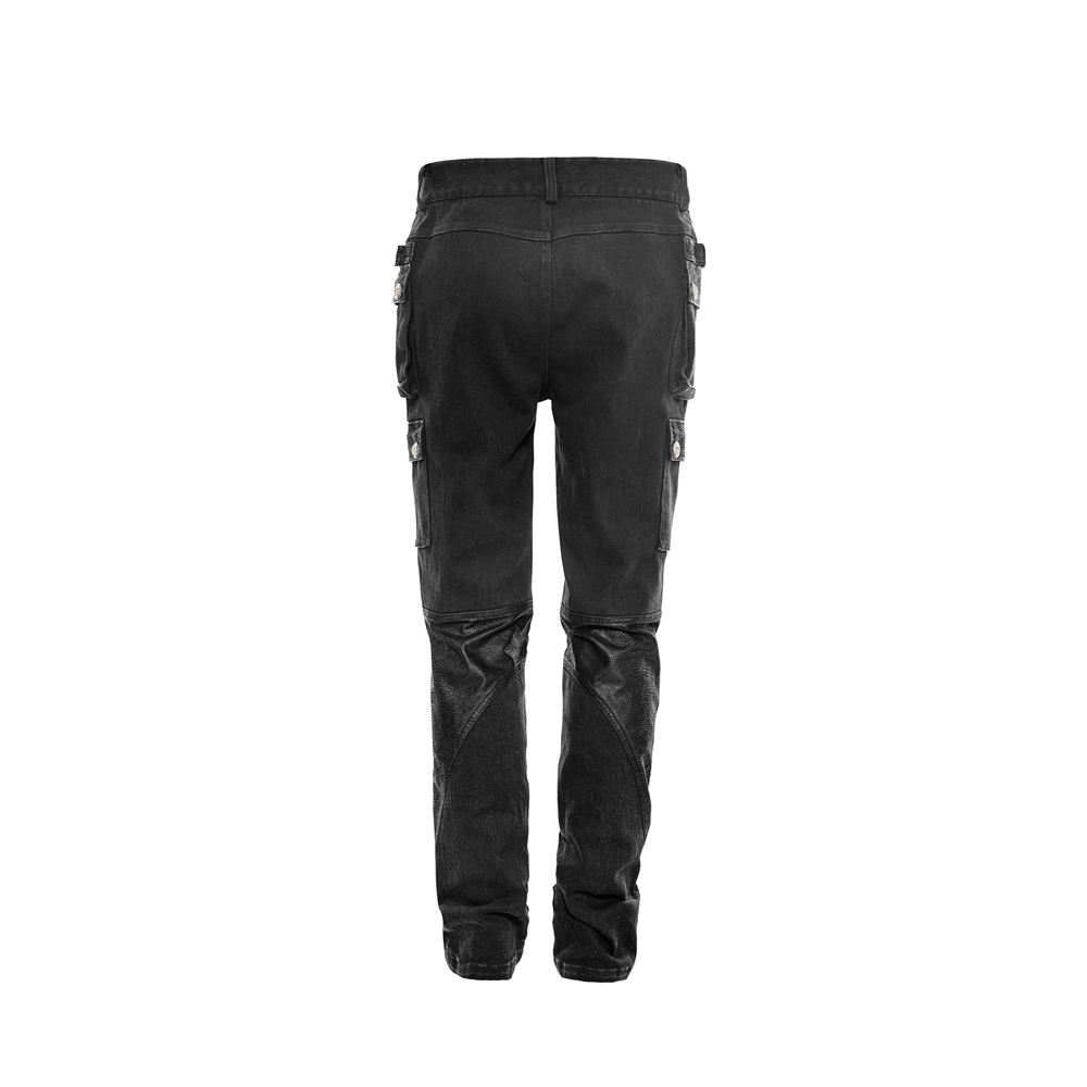 8ff2d2a964 US $74.4 20% OFF|Steampunk Men Cotton Rivet With Zipper Pants Trousers  Black Fitted Male Pantalones Large Size Pants-in Casual Pants from Men's ...
