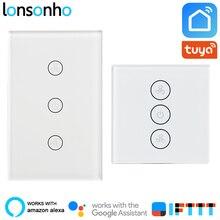 Lonsonho Wifi Smart Ceiling Fan Switch EU US Wall Touch Panel Speed Control Tuya Life App Works With Alexa Google Home