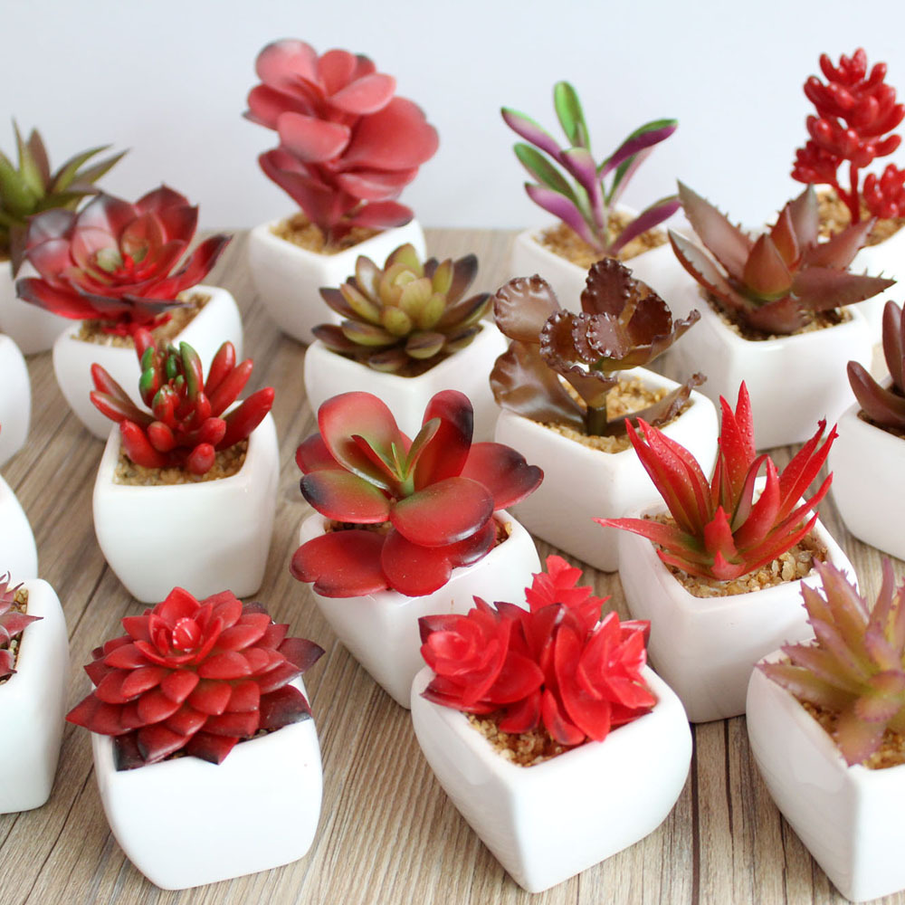Ceramic bonsai RED Artificial Potted Succulent Plant Windowsill Decoration home decor