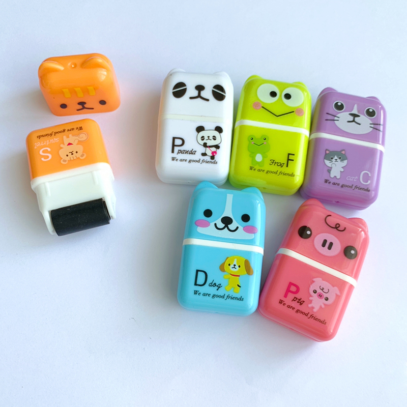 1X Kawaii Dog Cat Piggy Panda Frog Roller Eraser School Supply Student Stationery Writing Drawing Correction Rubber Kids Gift