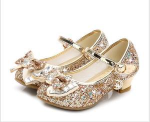 Image 2 - Bloem Kinderen Sandalen Knoop Leren Schoenen Prinses Meisje Schoenen Voor Kinderen Glitter Wedding Party Sandalia Infantil Chaussure Enfant