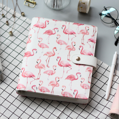 A5 Flamingo Cover Of Notebook Cute Planner Accessory Loose Leaf Binder Shell Office School Reused Cover