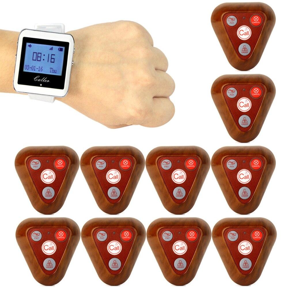 433 mhz 1 pcs Sans Fil Restaurant Coaster Pager Montre + 10 pcs Bouton D'appel Récepteur Pager Système Pour L'hôpital Serveur infirmière