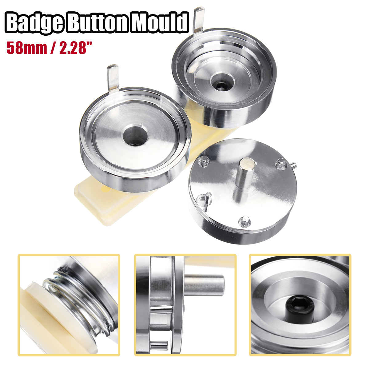 58mm Badge And Button Maker Punch Press Machine Round Die Mould White Baseplate