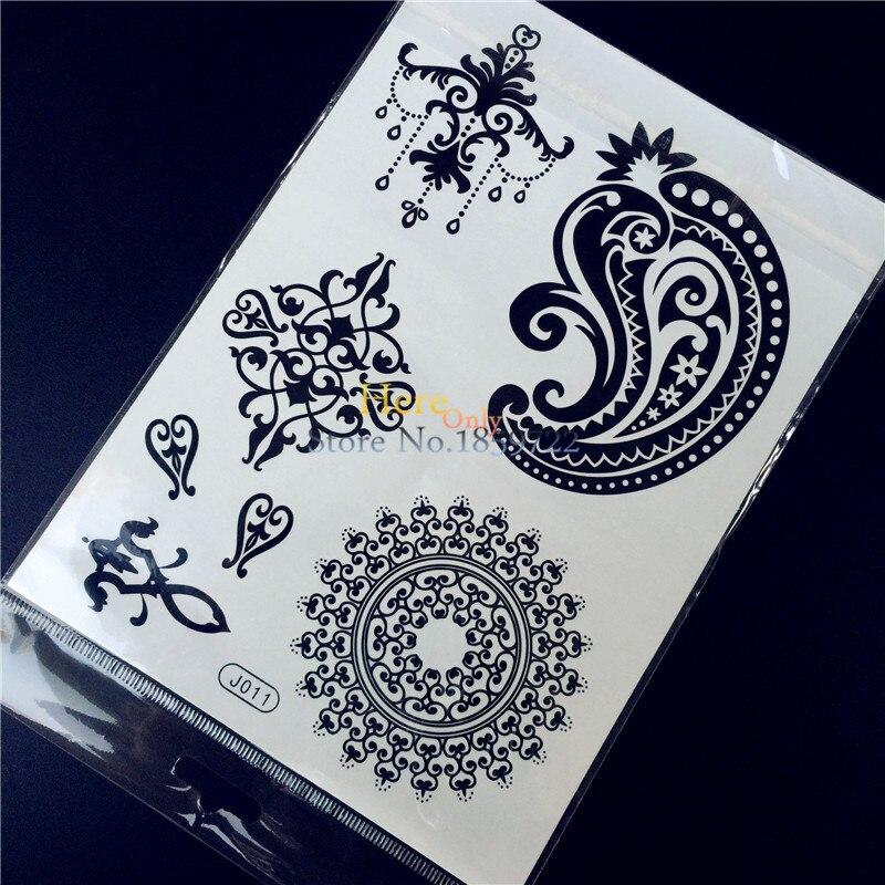 Bh1704 1 Piece Black Henna Cuff Tattoo With Flower Wrist: 1PC Fashion Flash Temporary Tattoo Sticker Black Women