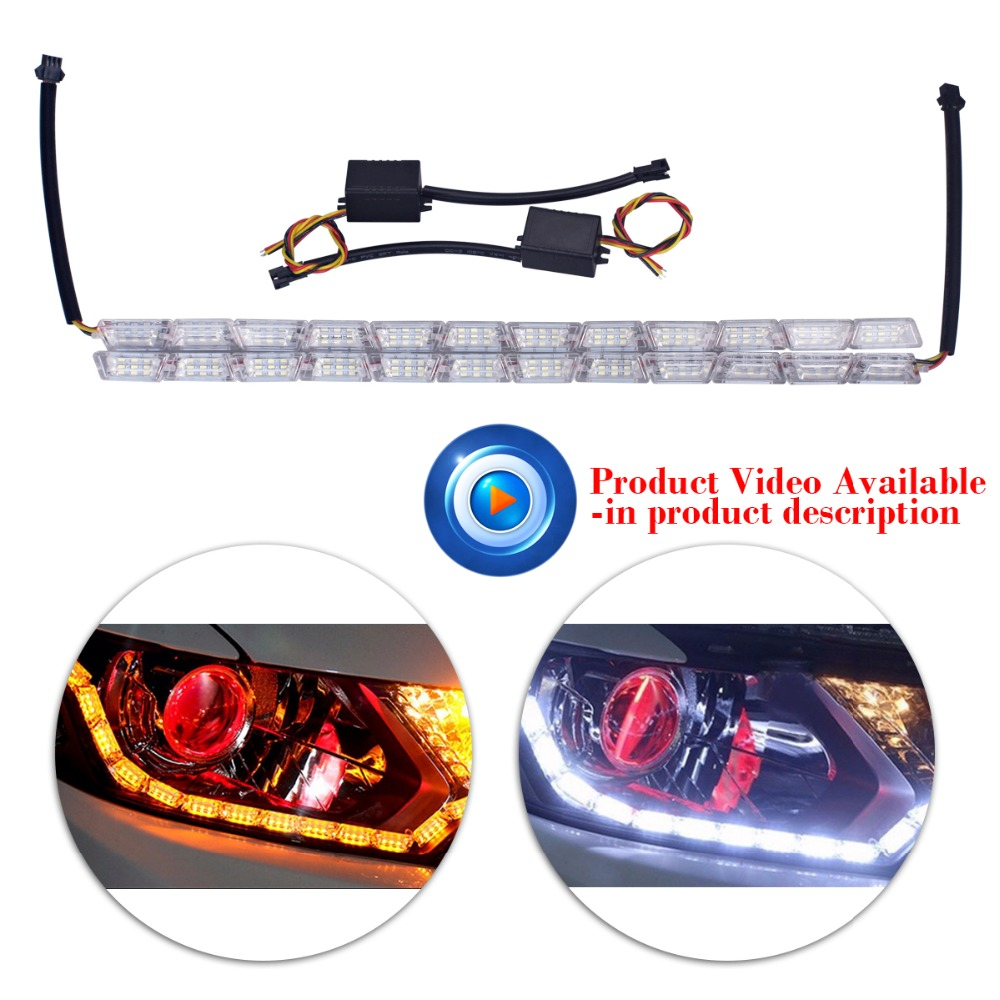 2xCar Styling12 LED Knight Rider Strip LED Daytime Running Light Turn Signal LightS Flowing Yellow Steady Crystal Bar DRL Lamp