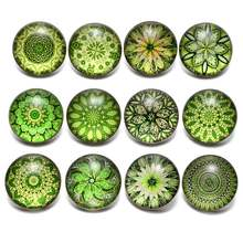 12pcs/lot Green Series Theme Beautiful Exotic Pattern 18mm Snap Button Charms For 18mm Snaps Bracelet Snap Jewelry KZ0622(China)