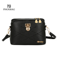 HJPHOEBAG 2017 Brand Women Casual Clutch Ladies Solid Zipper Shoulder Bags High Quality PU Leather Bags