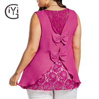 GIYI Plus Size 5XL 4XL Sexy Chiffon Back Lace Crochet Blouse Women Clothing Summer 2017 Sleeveless Top Femme Bowknot Embellished
