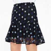 summer women skirts 2018 New arrival high waist Hollow Out Star A line Lace Embroidery Work Office short Mermaid skirts OM306