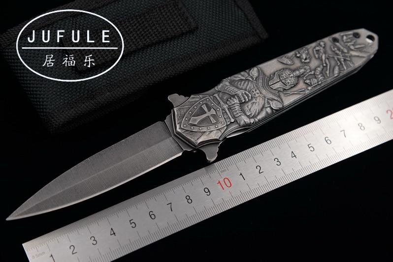 JUFULE Original design Crusader 9Cr18MoV folding camping hunting pocket Survival EDC tool Tactical outdoor flipper kitchen knife