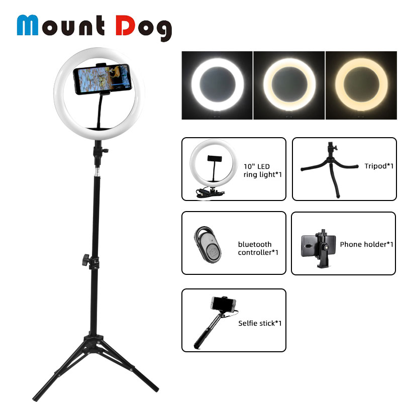 MountDog 6/10/<font><b>16</b></font>/18inch Selfie LED <font><b>Ring</b></font> <font><b>Light</b></font> Video Photo Studio <font><b>Light</b></font> 5500K With Phone Holder USB Plug Tripod Bluetooth Control image