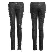 Black Punk Jeans Pants With Rivets On Sides For Women 2017 Cotton Fabric Fitted Long Trousers With Zipper In The Leg Open