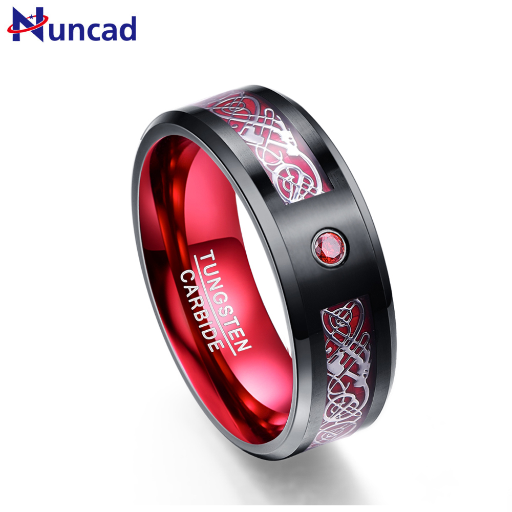 Nuncad hot sales tungsten ring 8MM wide Red men's classic wedding band ring with free shipping size 7/8/9/10/11/12