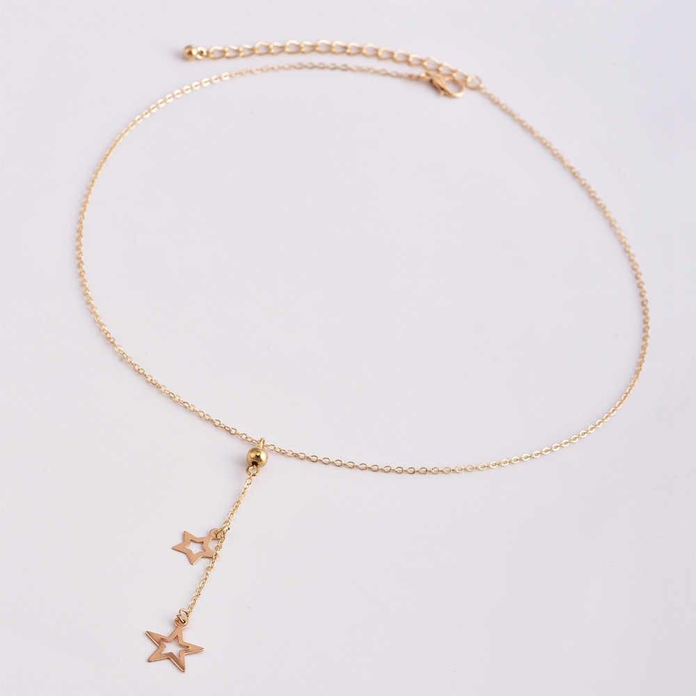 Minimalista boêmio Estrela de Ouro Cadeia de Borla Colares Para As Mulheres Coreano Sexy Pentagrama Pingente Colares Jóias Boho