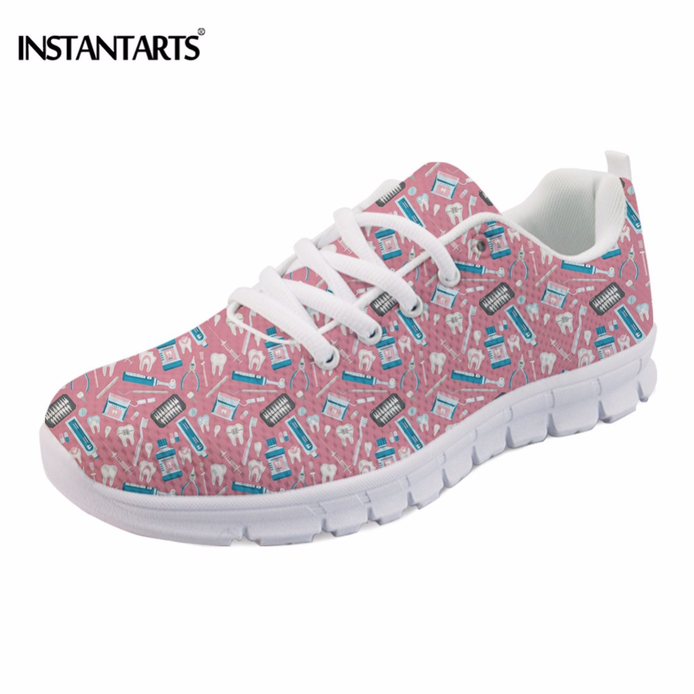 INSTANTARTS Cute Cartoon Design Women Flat Shoes Dental Equipment Printed Female Mesh Sneakers Casual Lace Up Flats for Girls instantarts fashion women flats cute cartoon dental equipment pattern pink sneakers woman breathable comfortable mesh flat shoes