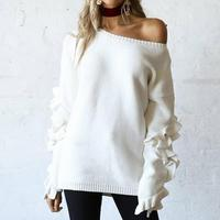 Ruffles Flare Sleeve Knitted Pullover Sexy One Shoulder Round Neck Sweater Women Autumn Winter Loose Streetwear