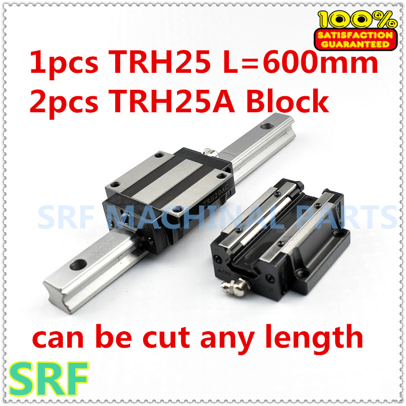 High quality 1pcs Linear guide rail TRH25 L=600mm Linear rail way +2pcs TRH25A Flange slide blocks for CNC part 1pc trh25 length 1500mm linear guide rail linear slide track auto slide rail for sewing machiner