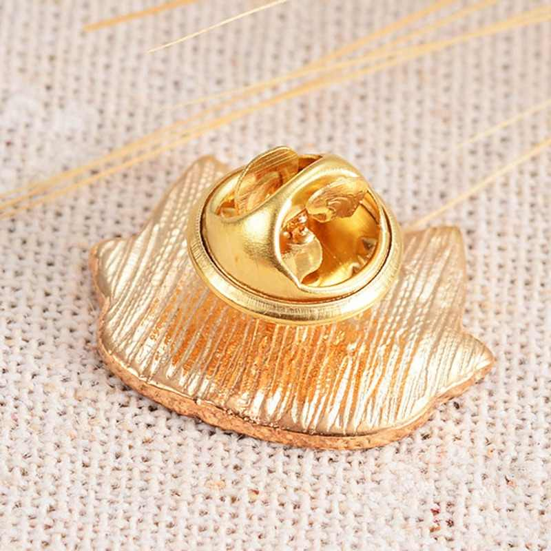 1 Pcs Orange Putih Kacamata Kucing Kepala Bros Enamel Pin Wanita Anak Busana Kartun Hewan Tombol Pin Kemeja Denim Badge perhiasan