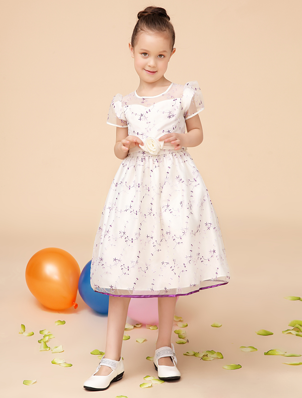 Elegant Tribute Silk and embroidery Ivory kids girls dresses with sash girls kids formal Pageant Dresses