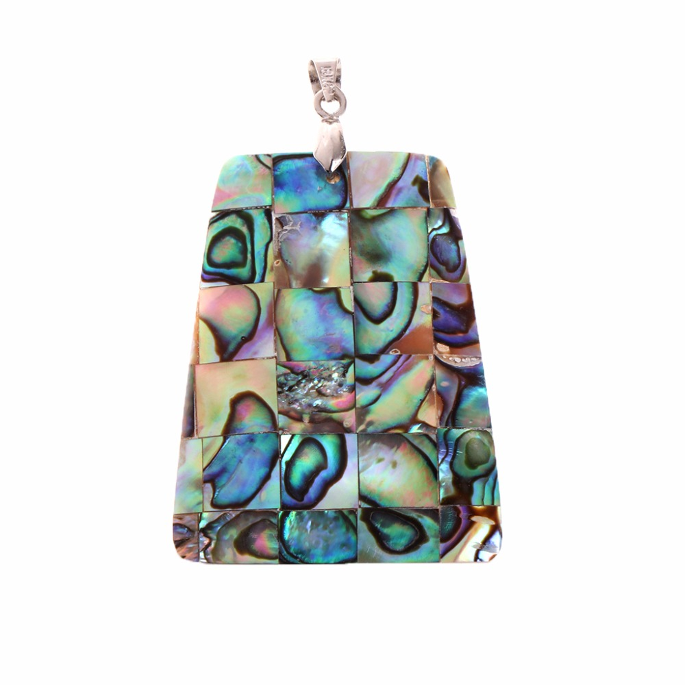 JAVRICK 1 PC New Colorful Abalone Shell Jewelry Necklace Pendant Natural Beads 40x30mm Trapezoid Shape Pendant