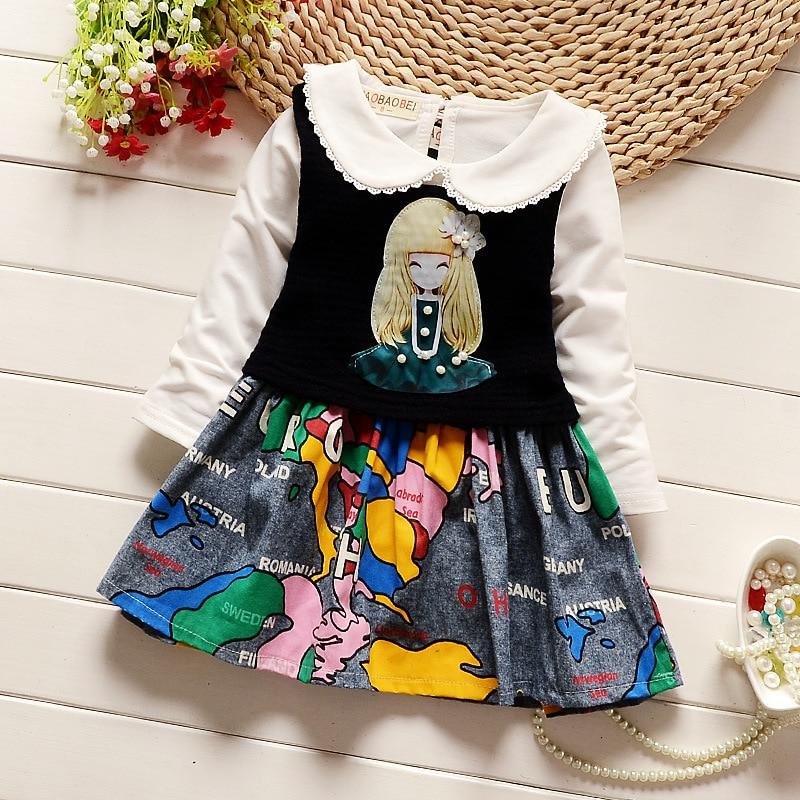 Cute kid girls princess clothes cartoon dress + long sleeve t-shirt two kinds of wear method