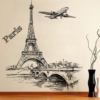 % Романтическая башня Париж летательный аппарат декоративные настенные наклейки для гостиной спальни украшения ПВХ росписи Декор стены Искусство DIY постеры