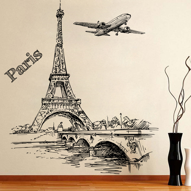 % Romantic Tower Paris Aircraft Decorative Wall Stickers Living Room Bedroom Decorations PVC Mural Decor Wall Art DIY Posters